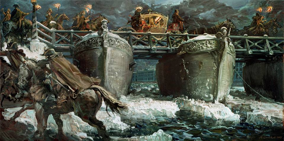 Михаил Шаньков. Дворцовый мост. Холст, масло