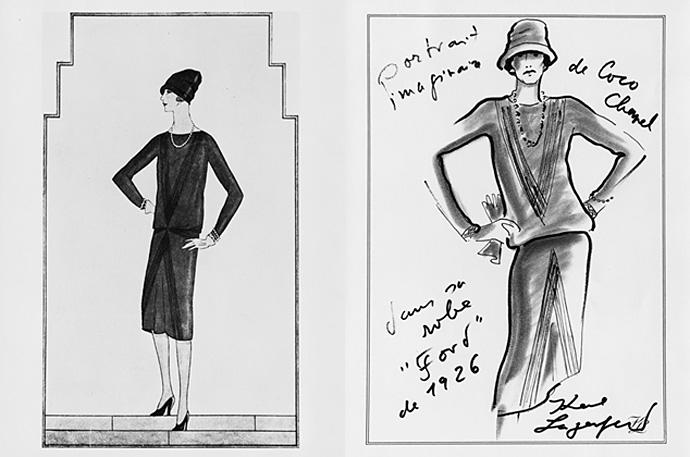 Эскиз Коко Шанель, 1926 г., маленькое чёрное платье