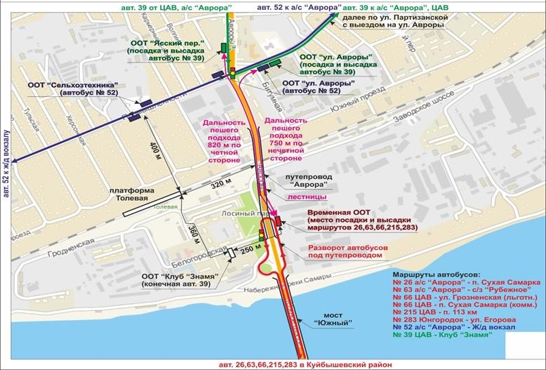 Движение автобусов по Южному мосту