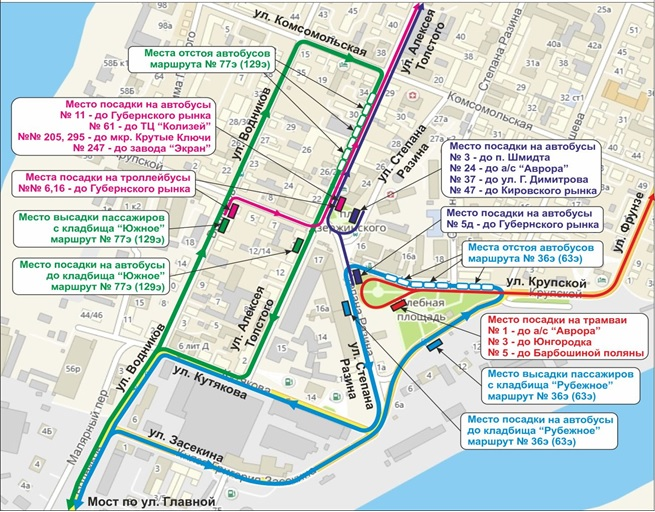 Схема движения по Хлебной площади