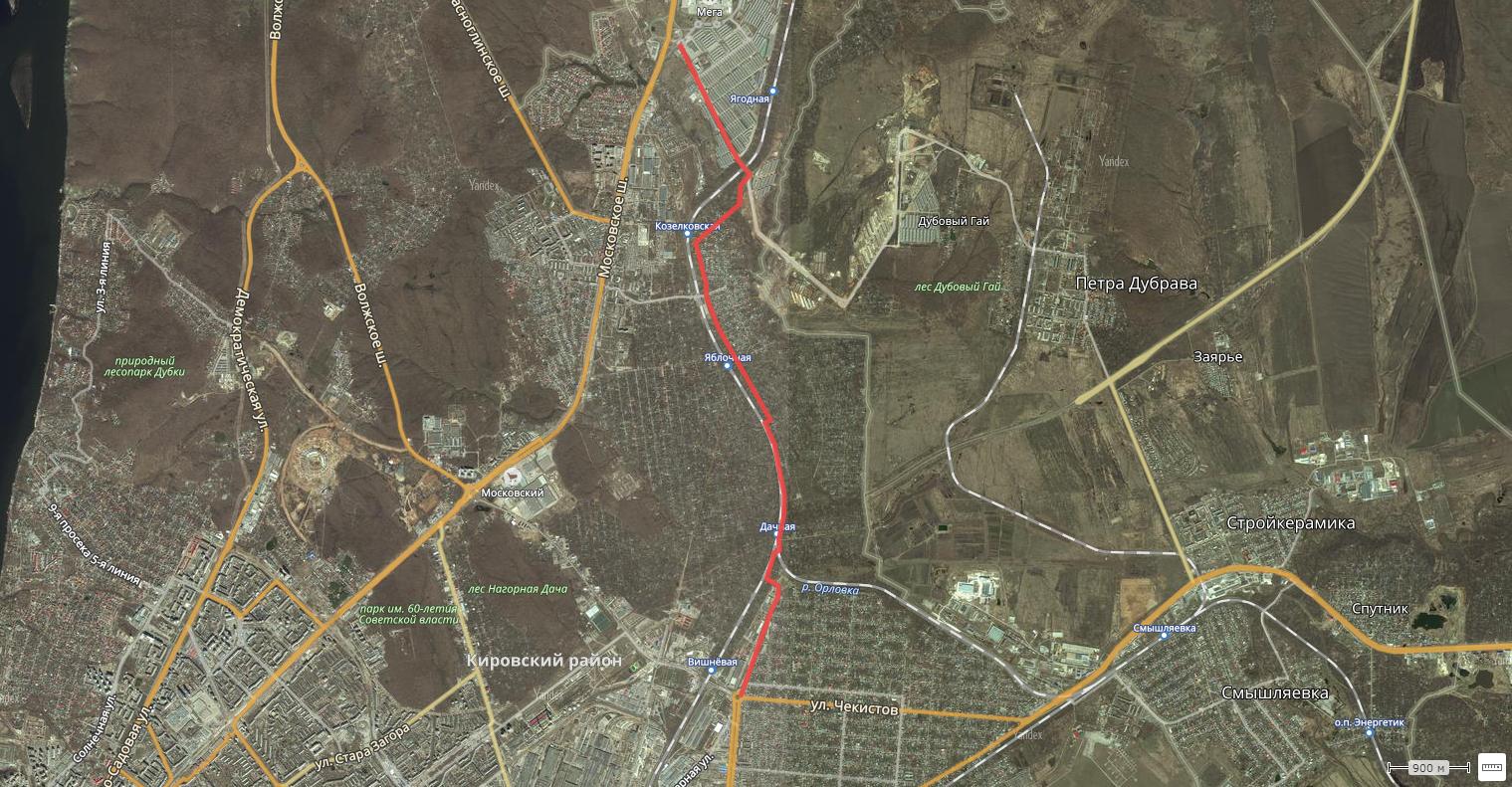 В объезд пробки на Московском шоссе (карта)