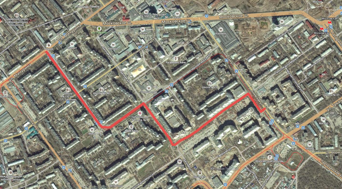 Объезд пробки на Мичурина, Московском шоссе и Киевской
