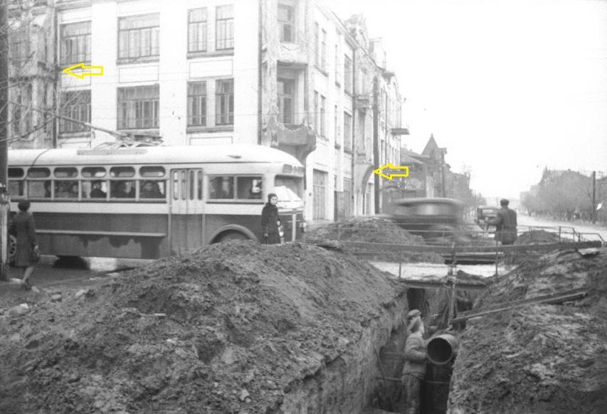 588 – Укладка труб тепломагистрали на ул. Л. Толстого. 22.10.1947.