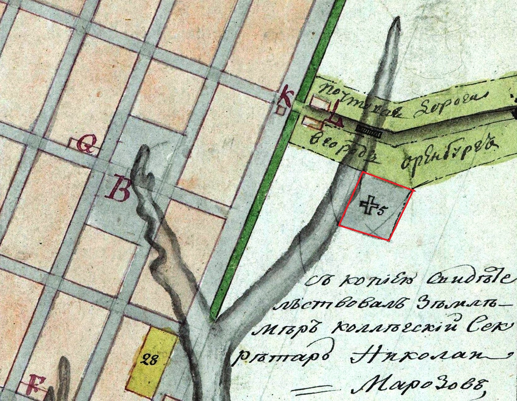Карта Самары 1804 г.