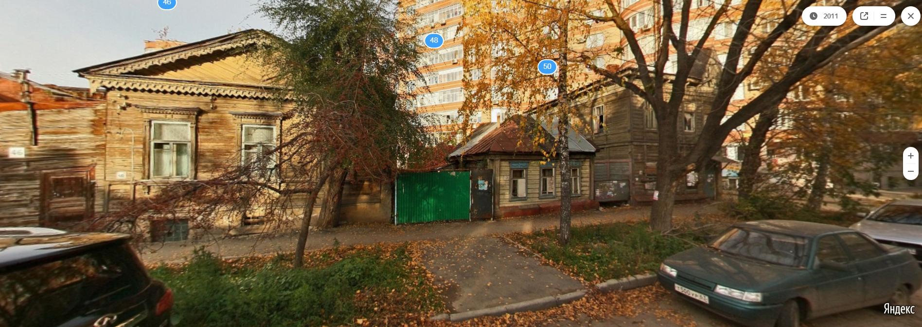 В центре - дом крестьянки Кистеневой на Яндекс.Панораме в 2011 году