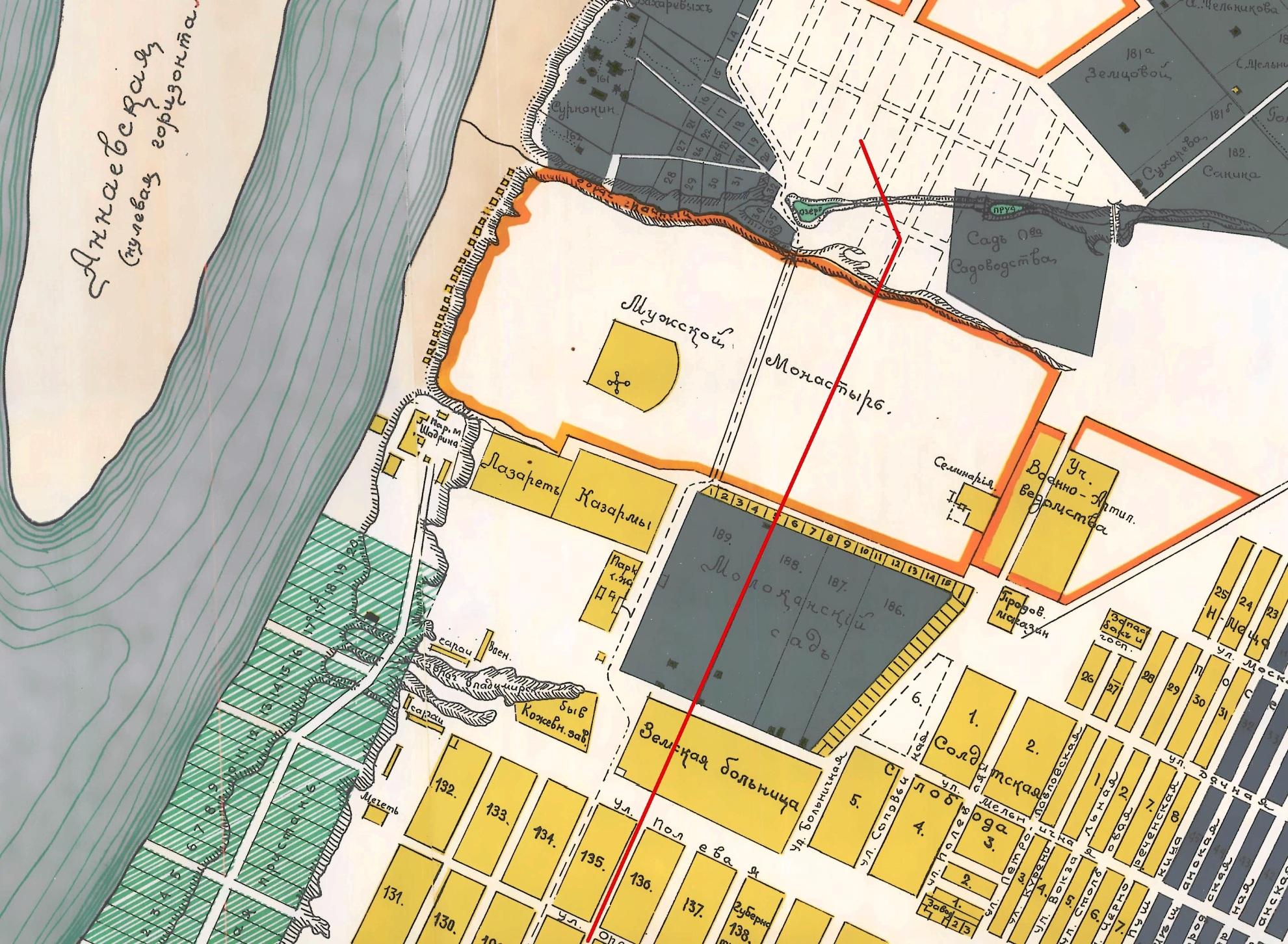 Проспект Ленина на карте 1910 года