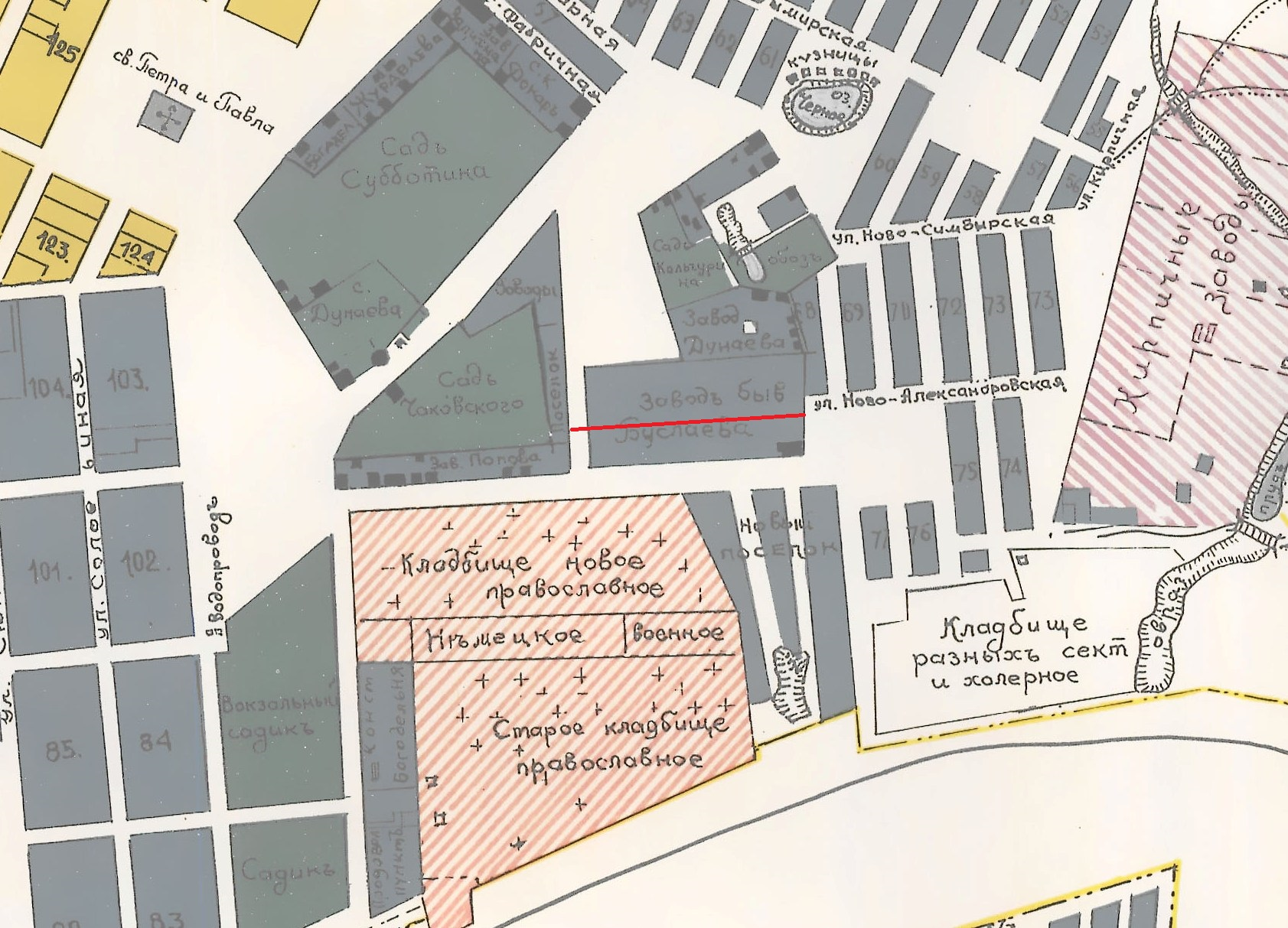 Карта Самары 1910 года