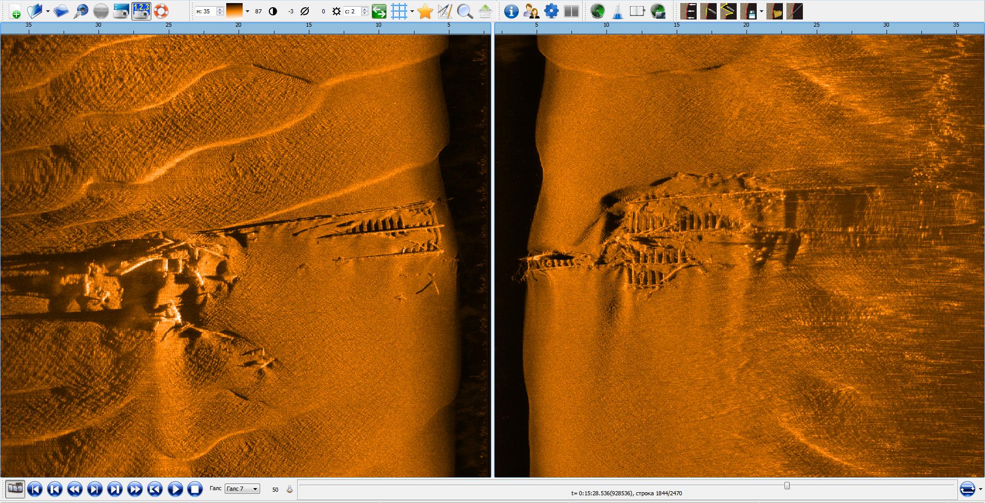Сканирование речного дна