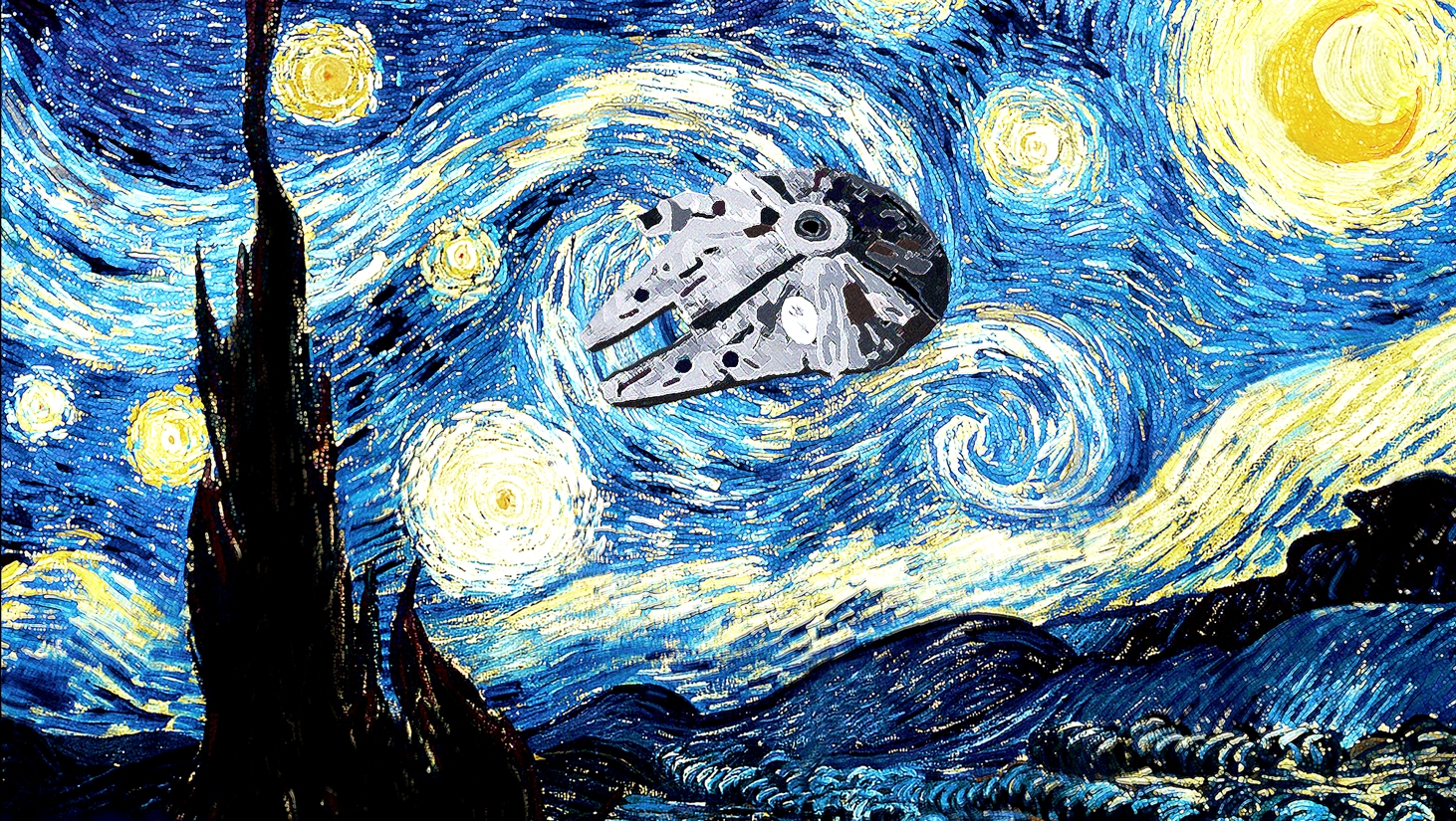 Starry_Night_with_Millennium_Falcon_by_Rabittooth