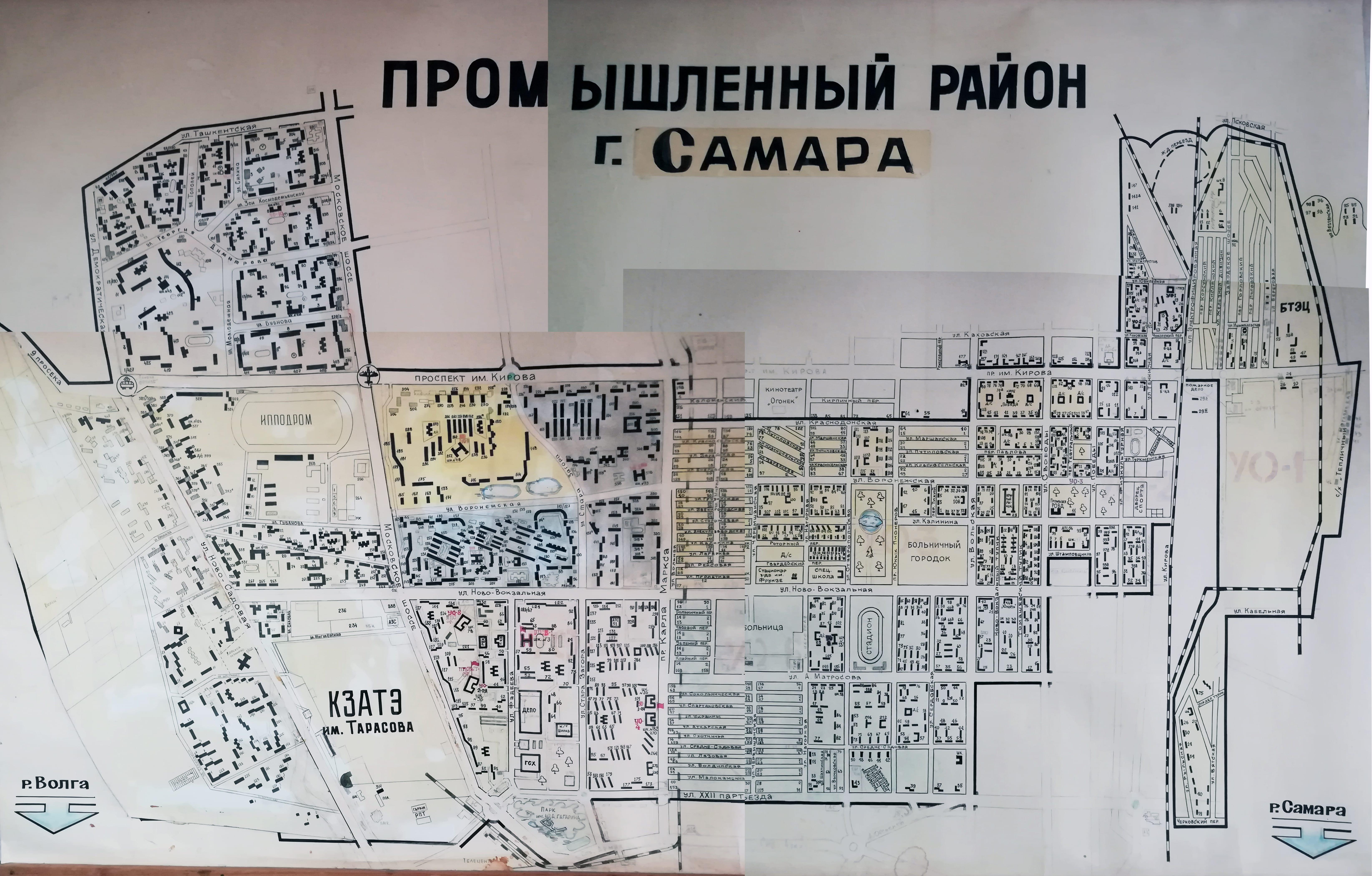 Карта Промышленного района Самары