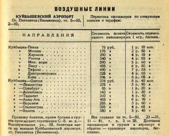 13 Расписание рейсов Куйбышевского аэропорта. 1936 год