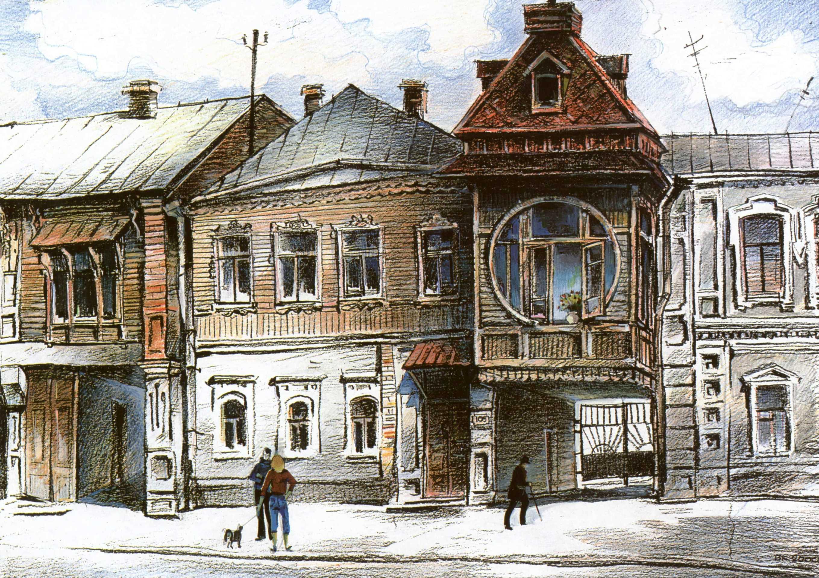 Дом Цеглеева. Рисунок Каркарьяна