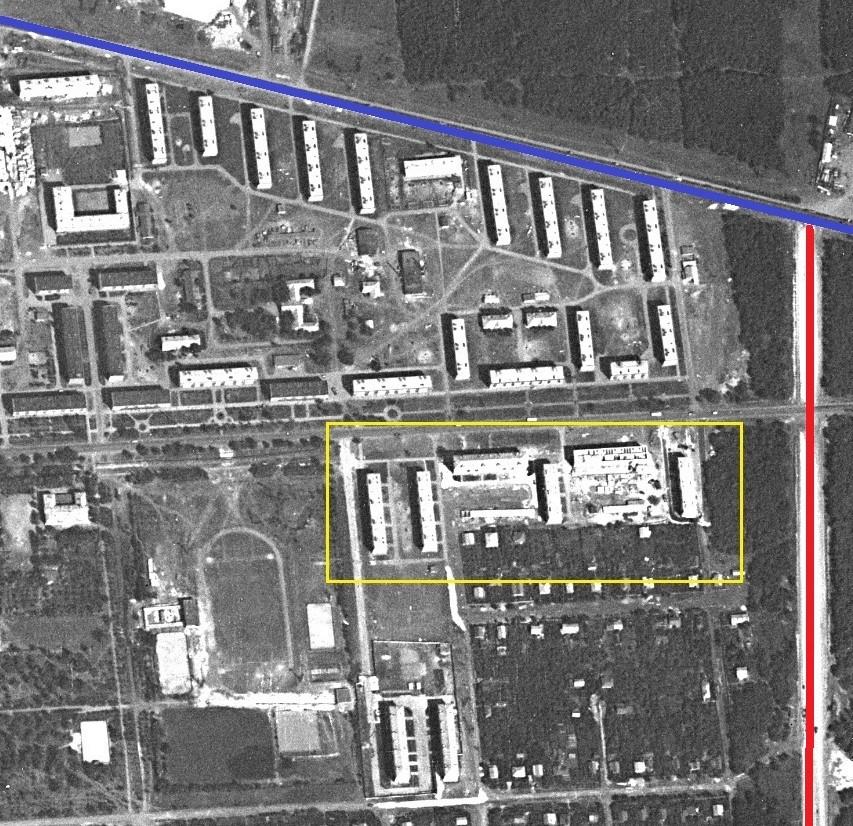 1967 год. Красная линия -- Волжское шоссе, синяя -- шоссе Красноглинское.
