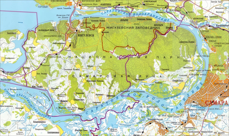 Карта Жигулевского заповедника