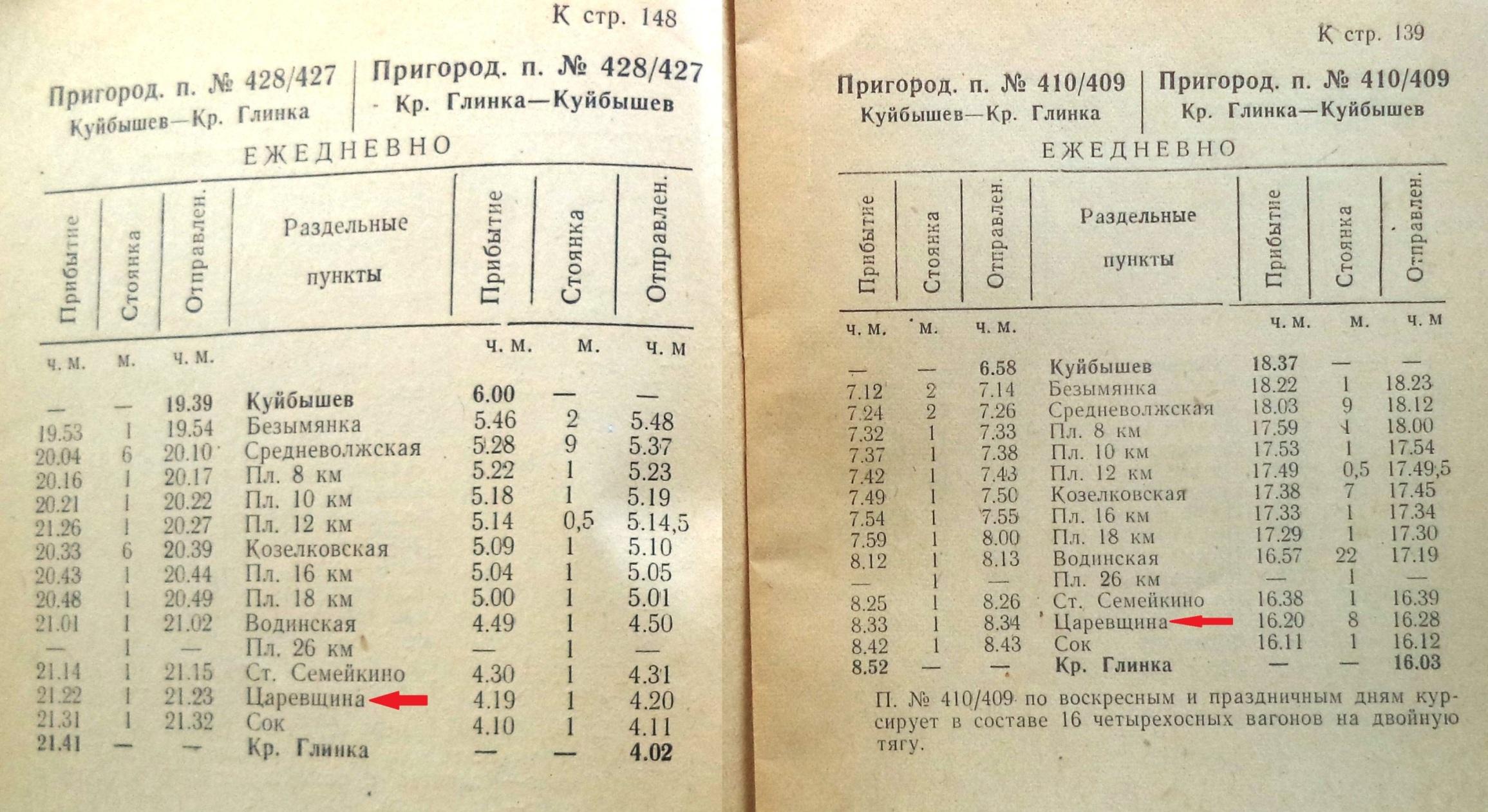 Расписание 1962 года. Куйбышев - Красная Глинка.